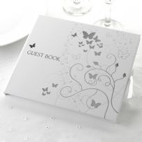 Elegant Butterfly Wedding Guest Book - White & Silver